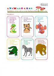 English Worksheet: Animals Card