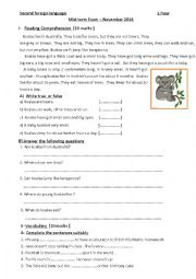 English Worksheet: mid -term exam 6th grade