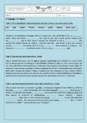English Worksheet: Mid semester test n 2 1st form