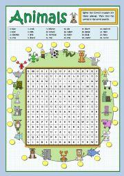 English Worksheet: ANIMALS - WORDSEARCH