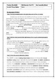 English Worksheet: MID SEMESTER testN�2 3RD FORM
