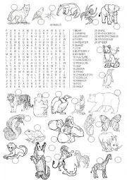 English Worksheet: WORDSEARCH - ANIMALS