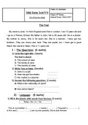 English Worksheet: Mid Term Test n 1 - 6th form