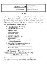Mid Term Test n 1 - 6th form