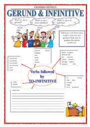 English Worksheet: GRAMMAR REVISION - GERUND & INFINITIVE part 1