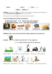 English Worksheet: Shall I ..?Shall we...?