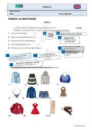 English worksheet: FASHION AND BODY IMAGE - TEST