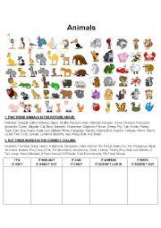 English Worksheet: Animals (Basic Grammar and Vocab - Guessing Game)