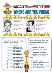 English Worksheet: WHERE ARE YOU FROM