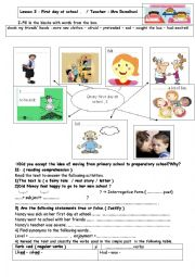 English Worksheet: Lesson 3 : First day at school