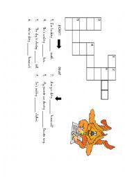 English Worksheet: possessive adjectives crossword