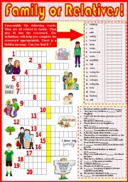 English Worksheet: Family or Relatives 17/..    + KEY.