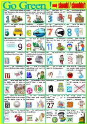 English Worksheet: G O    G R E E N !   Vocabulary revision with  should and shouldn´t.