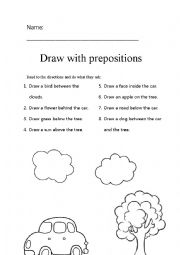 english worksheets prepositions complete the drawing. Black Bedroom Furniture Sets. Home Design Ideas