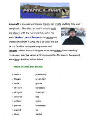 English Worksheet: minecraft