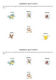 English Worksheet: Pokemon Animals body parts worksheet