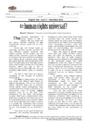 Are Human Rights Universal? - Test on Multiculturalism