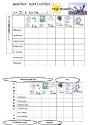 English Worksheet: Weather Battleships for Kids and Adults