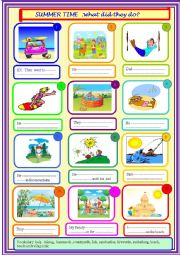 English Worksheet: Summer holidays , past for beginners