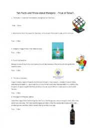 English Worksheet: Ten Facts and Trivia about Hungary - True or False?