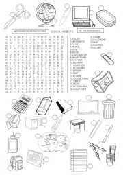English Worksheet: SCHOOL OBJECTS - WORDSEARCH