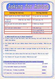 English worksheet: Asking for Advice