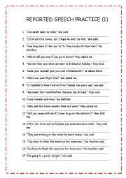 English worksheet: REPORTED SPEECH PRACTICE