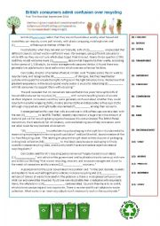 English worksheet: Recycling Article FCE Word transformation Practice and Debate