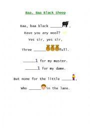 English Worksheet: Baa, Baa, Black Sheep song