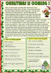 English Worksheet: Christmas is coming  reading for young learners with a poem