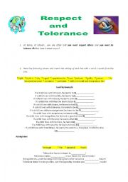 English Worksheet: Respect and tolerance
