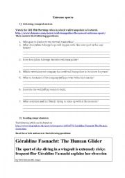 English Worksheet: Extreme sports: Listening and reading comprehensions - Key included