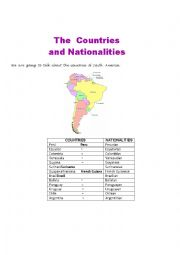 English Worksheet: Countries of South America