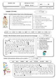 English Worksheet: 9th form test Tunisian pupils
