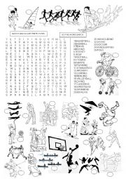English Worksheet: SPORTS - WORDSEARCH
