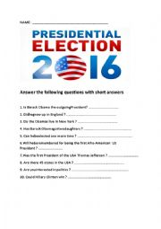 English Worksheet: YES /NO QUESTIONS ON THE US ELECTION