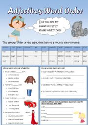 English Worksheet: Adjectives word order