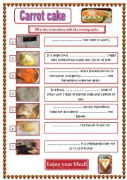 English Worksheet: Carrot Cake Recipe