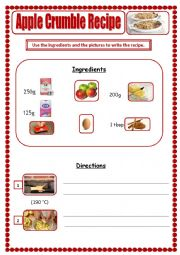 English Worksheet: Apple Crumble Recipe