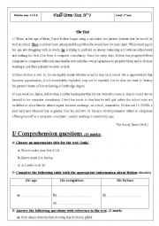 English Worksheet: Full-Term Test N�1 1st y