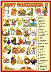 English Worksheet: Happy Thanksgiving; matching voc