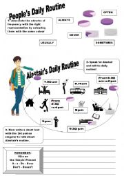 English Worksheet: People´s Daily Routine: from I to He/She