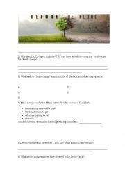 English Worksheet: Before the Flood Documentary - National Geographic - Worksheet 1