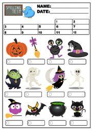 spelling test and halloween vocavulary esl worksheet by sandra sanchez. Black Bedroom Furniture Sets. Home Design Ideas