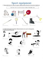 english worksheets sport equipment. Black Bedroom Furniture Sets. Home Design Ideas