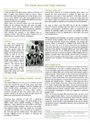 English worksheet: Dairy Health Reading with Questions and Answer Key