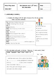 English Worksheet: mid emester test  7th grade