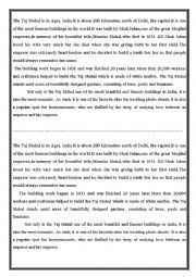 Taj Mahal: a Reading comprehension text