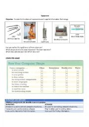 English Worksheet: Uses of computers, their parts and peripherals