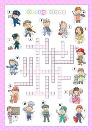 English Worksheet: Occupations crossword (KEY INCLUDED)